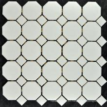 Azulejo mosaico de gres blanco marfil