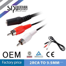 SIPU Factory price factory supply 3.5mm female to 2rca cctv av cable