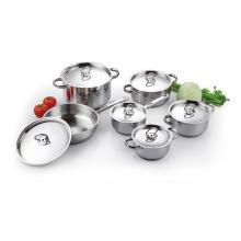 12-teiliges Edelstahl-Kochgeschirr-Set mit Deckeln