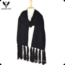 Unisex Winter Warm Solid Color Knitted Long Fringe Scarf