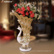 Resin wedding centerpieces peacock shape flower vases qualified big polyresin peacock flower vase