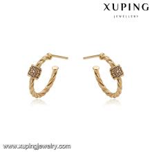 93331 Atacado simplesmente moda jóias mulheres brincos de argola banhado a ouro 18k com minúsculo CZ dimond