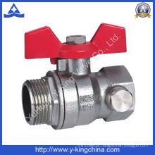 Válvula de esfera de bronze roscada de alça de alumínio (YD-1006)