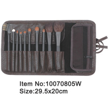10pcs black plastic handle animal/nylon hair makeup brush set with PU leather case