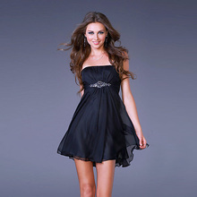 Youthful and Chic A-line Strapless Chiffon Beading Sexy Mini Cocktail Dress
