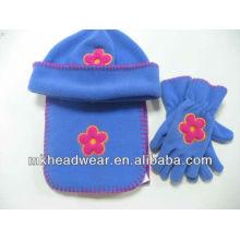 Niños flor bordado sombrero de lana polar, conjuntos de bufanda y guante