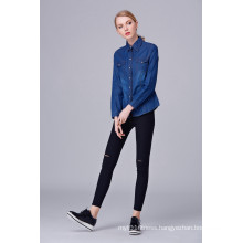 Hot Selling Female Models Long-Sleeved Shirt Women Simple Denim Tops