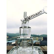 8 pulgadas de altura plataforma de petróleo tubo de vidrio Hitman tubo de vidrio de calidad de fumar pipa de vidrio cabeza de martillo pastel DAB Rigs Cake Waterpipe con Birdcage Percolator