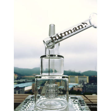8 pouces Hauteur Oil Rig Glass Pipe Hitman Glass Pipe Qualité Smoking Glass Pipe Hammer Head Cake DAB Rigs Cake Waterpipe avec Birdcage Percolator