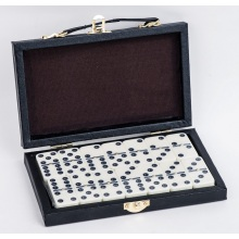 Double 6 Melamine Dominoes Game Set In Leather Box