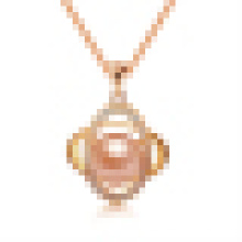 Collar colgante ovalado de perla natural de mujer con cadena