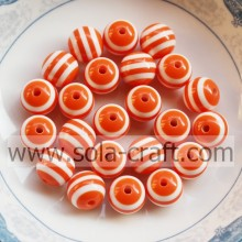 New 10MM 500Pcs Orange & White Wholesale Acrylic Zebra-stripe Round Gemstone Loose Swarovski Charms spacer Beads
