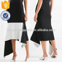 Nova Moda Asymmetric Two-tone Crepe Saia Midi DEM / DOM Fabricação Atacado Moda Feminina Vestuário (TA5166S)
