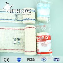 Bandage médical élastiqué blanc naturel en crêpe stretch