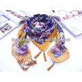 Factory price printed crochet scarf with beads for lady
