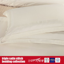 Triple Satin Stitch Bedding Set Classical Design Ivory