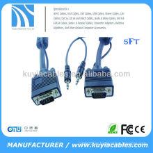 5 FT VGA CABLE 3.5mm SVGA UXGA Monitor de cable con audio de 3,5 mm