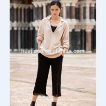 Кашемир толстые Relax стиль женщины вязать свитер