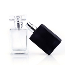 30ml 1OZ clear black Refillable vintage Square Empty Glass Perfume Atomizer Bottle