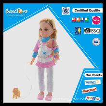 Hot item menina brinquedo com cão e boneca de 43 centímetros