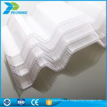 100% nouveau matériau Fireproof Coloré lexan PC Corrugated Transparent Toile