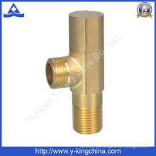Válvula de ángulo de latón con rosca de color de latón (YD-5021)