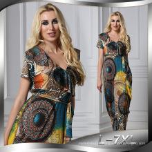 Moda impressa spandex premium poliéster impresso new maxi fashion lady sexy dress