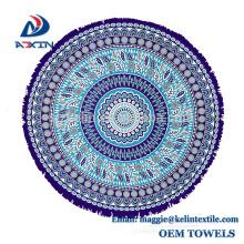 Personalizado imprimió nuevas toallas de playa redondas aztecas de la forma del círculo del diseño
