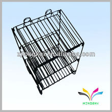 3 tiers collapsible wire cosmetic display rack with banner holder
