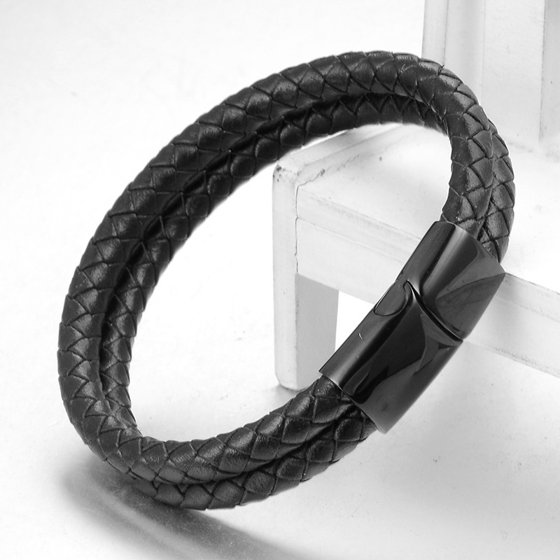 4Fashion Double Wrap Genuine Leather Magnetic Clasp Bracelet