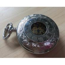 Mekanik İskelet Hareketi ile Kaliteli Pirinç Gümüş Zencefil Cep Saat