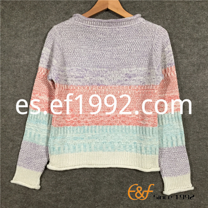 Hot Selling Strip Women's Sweater with Curling Edge