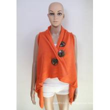 Women Fashion Coconut Knopf Acryl Gestrickte Schal Weste (YKY4425-1)