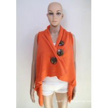 Women Fashion Coconut Button Acrylic Knitted Shawl Vest (YKY4425-1)