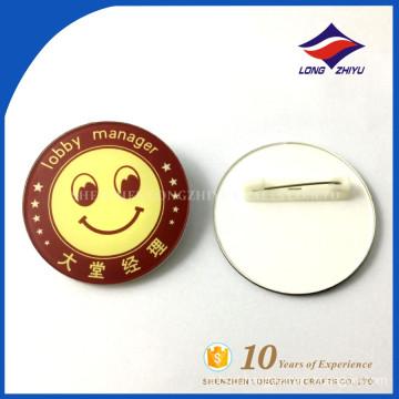 Tinplate lobby manager round shape name badges
