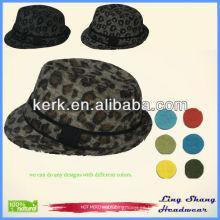RH-08 2014 La última señora del algodón del fedora 100% de la manera del estilo imprimió al por mayor el sombrero del leopardo del vaquero
