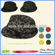 RH-08 2014 Latest style Fashion fedora 100% cotton Lady Print wholesale cowboy leopard hat