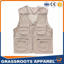 Custom China Wholesale Alibaba Men's Outdoor Multifuncional Multi-Pocket Pierced Pescador Vest Fotógrafo Fotógrafo Fotógrafo Vest