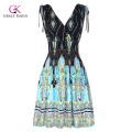 Grace Karin Women's Elastic Waist Sleeveless V-Neck V-Back Beach Dress CL010447-1