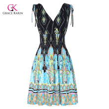 Grace Karin Women's Elastic Waist Sleeveless V-Neck V-Back Beach Dress CL010447-1