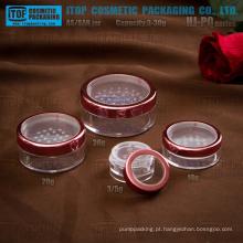 HJ-PQ série 3G 5G 10g 20g 30g única camada plana rodada frasco de peneira tudo plástico claro cosméticos pó solto