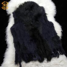 Precio directo al por mayor de la fábrica El conejo genuino hizo punto el chaleco sin mangas de la piel