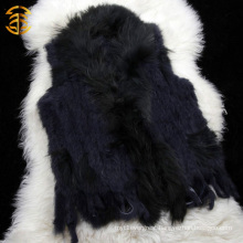 Factory Direct Wholesale Price Genuine Rabbit Knitted Sleeveless Fur Vest
