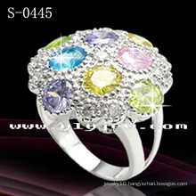 925 Sterling Silver Multicolor CZ Ring (S-0445)