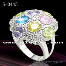 925 стерлингового серебра многоцветный CZ кольцо (с-0445)