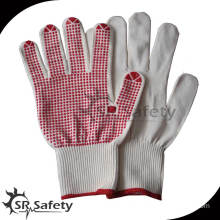 SRSafety 13g knitted pvc dotted cotton gloves/knitted cotton glove
