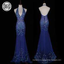 Цветочный дизайн элегантный синий сексуальная голой спиной блесток pronm вечерние платья