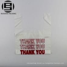 Impreso gracias bolsa de plástico de la camiseta para la venta