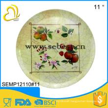 "FDA standard custom designs print 11"" round dinner used restaurant plate"