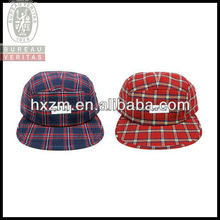 Plaid Flat Brim 5 Panel Cap